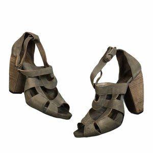 FLY LONDON Leather Peep-Toe Wood Heel Sandal 40